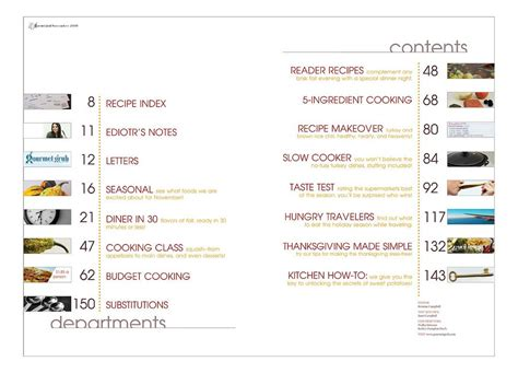 table catalogue magazine spread table of contents contents and