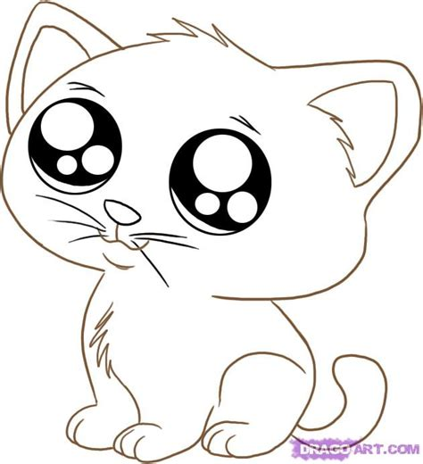 draw  anime cartoon kitty step