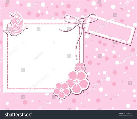 vector flower pink scrap background butterfly stock vector