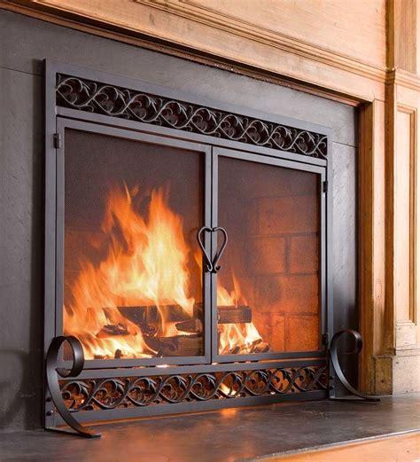 fire screen double doors black cast iron firescreen
