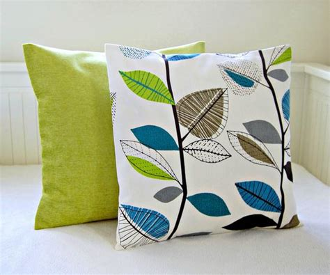 lime green throw pillows decorative pillows teal blue lime green leaves accent lime