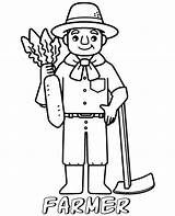 Coloring Farmer Pages Professions Easy Printable Children Topcoloringpages Simple sketch template