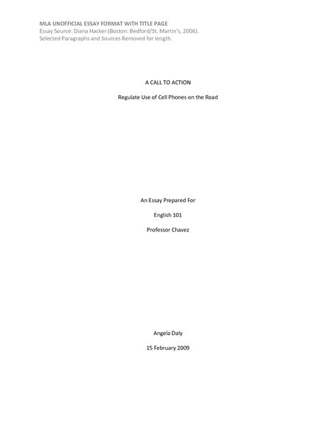 MLA Format Essay Title Page