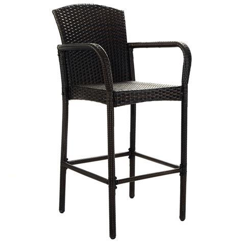 2 pcs rattan wicker bar stool high counter chair outdoor