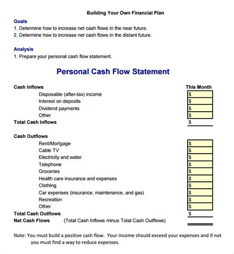 cash flow statement   samples examples format