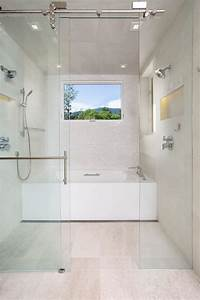 Wet, Room, With, Shower, And, Soaking, Tub