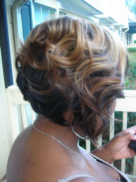 two toned bob sew in weave cut and styled by me ken