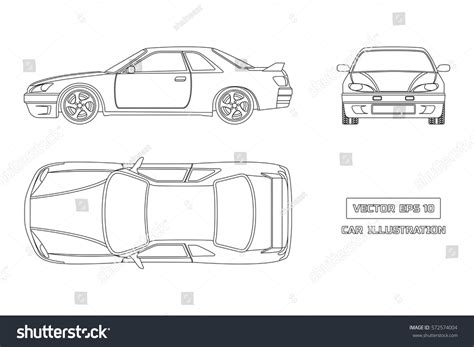 Contour Drawing Car On White Background Stock Vector