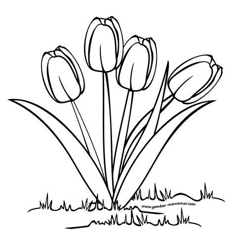 sketsa gambar bunga mawar dalam pot garlerisket
