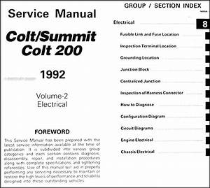 1992 Colt  200   U0026 Summit Repair Shop Manual Original 2