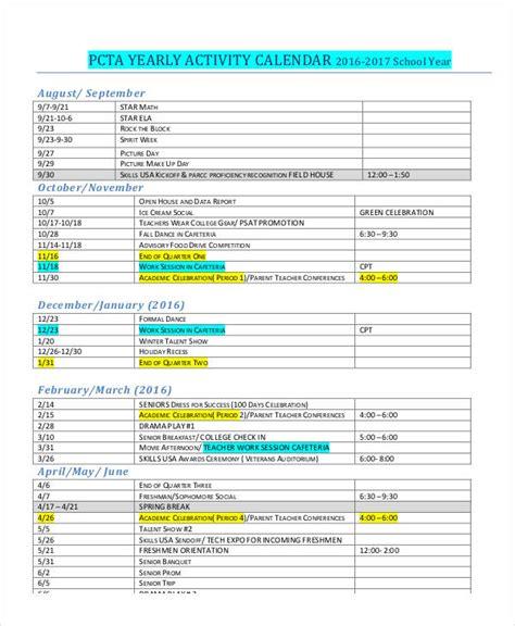 activity calendar template activity calendar templates 9 free pdf format free premium templates