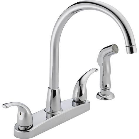 peerless kitchen faucet shop peerless chrome 2 handle deck mount high arc kitchen