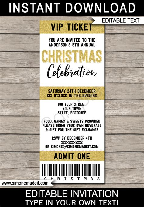 printable christmas party ticket invitations christmas