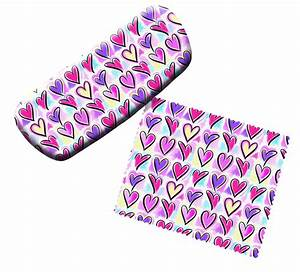 Red Pink Purple Love Hearts Eyeglass Reading Glasses Case ...