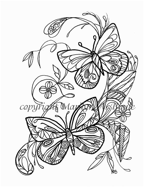 adult coloring page butterflies flowers garden
