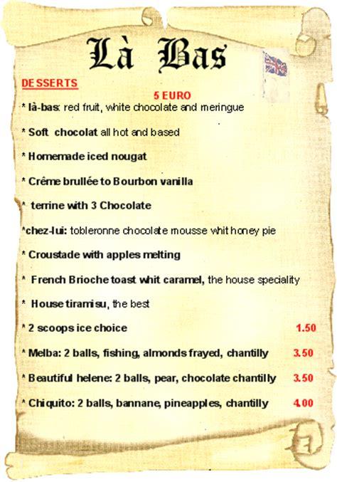 carte de dessert restaurant restaurant quot l 224 bas quot
