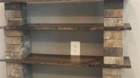 amazing shelf   wood  cinder blocks