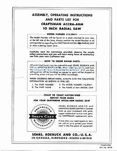 Craftsman 113 29411 Assembly  Operating Instructions And