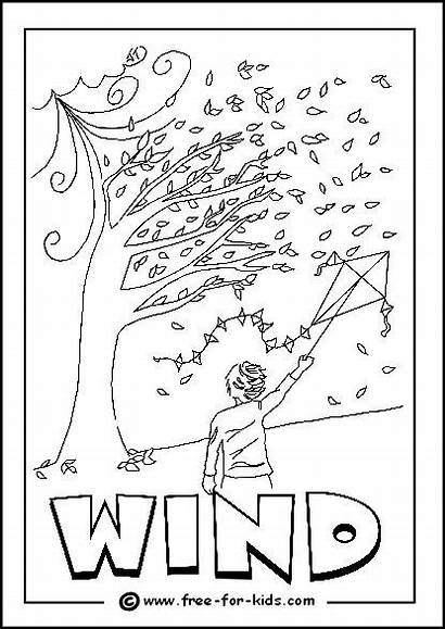 Colouring Windy Weather Pages Coloring Printable Children