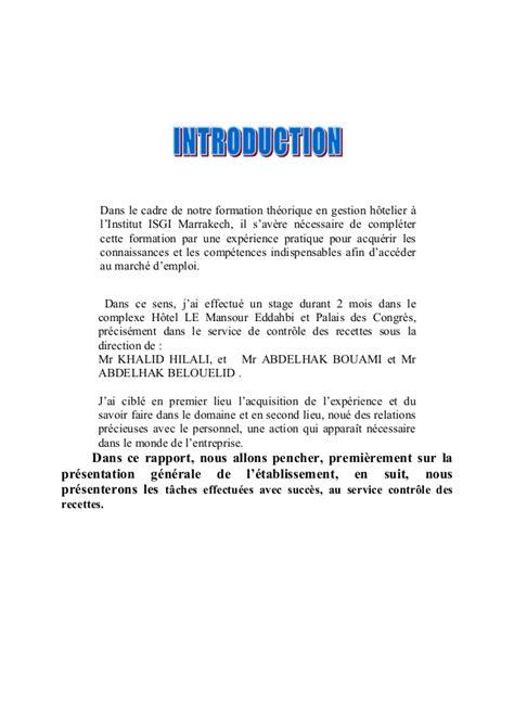 rapport de stage 3eme cuisine modele rapport de stage hotellerie document
