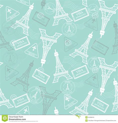 travel pattern stock vector illustration  eiffel