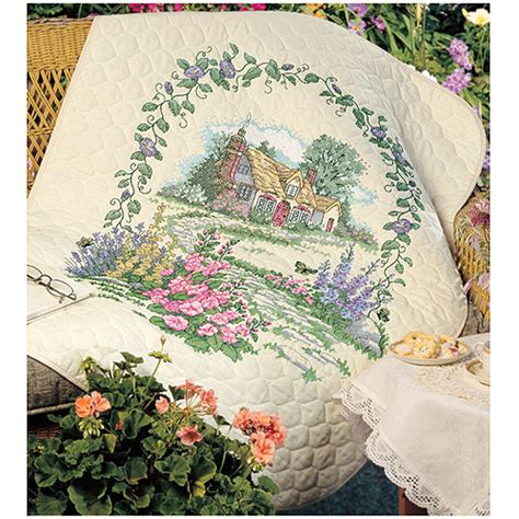 cross stitch quilt kits dimensions quot hollyhock cottage quot quilt sted cross stitch