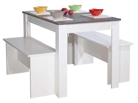 table cuisine conforama blanc lot de 2 bancs table paros coloris blanc et b 233 ton vente de ensemble table et chaise conforama