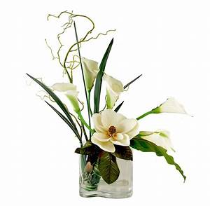 FLOWER ARRANGEMENTS - MAGNOLIA & CALLA LILY BOUQUET - SILK