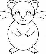 Hamster Outline Clip Coloring Pet Simple Clipart Pages Lineart Colouring Colorable Line Printable Sweetclipart sketch template