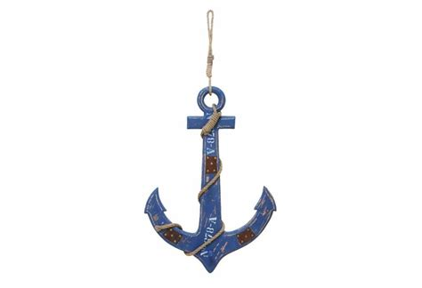 Decorative Anchors by Rustic Blue Wooden Anchor And Rope Decor Gonautical