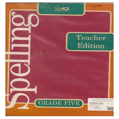 Acsi Spelling 5te  Second Harvest Curriculum