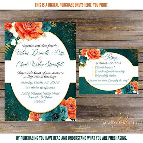 Orange and Teal Wedding Invitation and RSVP Fall Wedding