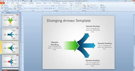 smartart powerpoint templates free diverging arrows powerpoint template