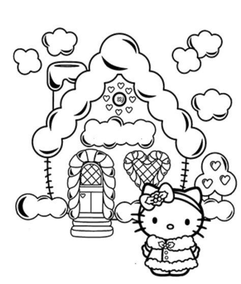 kitty christmas  christmas house coloring pages