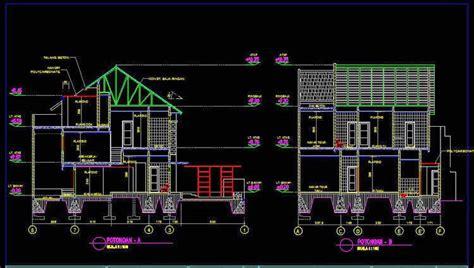 gambar  menggambar desain rumah  autocad