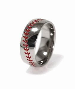 men39s titanium baseball wedding ring titanium buzz With mens baseball wedding rings