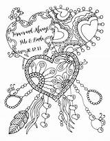 Coloring Pages Adult Anniversary Happy Forever Always Drawing Adults Printable Heart Quote Lukens Karen Colouring Books Valentine Cool Artist Etsy sketch template
