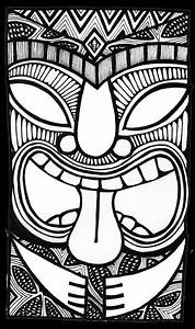 stitchlily how to draw a tiki head art techniques With tiki letter stencils