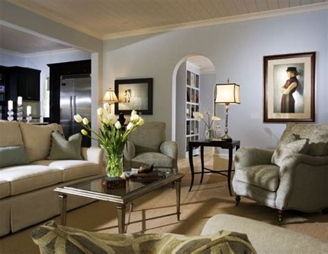 Blue Gray Walls Living Room : Blue Gray Walls, Green Gray Chairs, Yellow Beige Sofa And