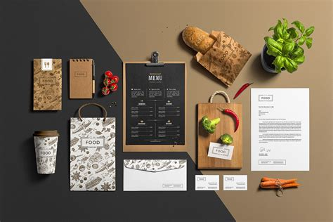 barre cuisine restaurant bar stationery branding mockup mockup cloud