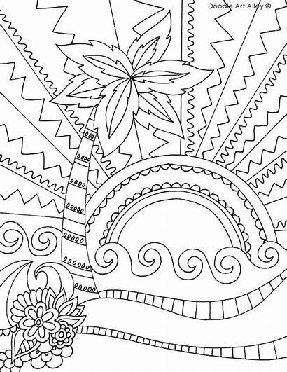 Coloring Beach Pages Summer Doodle Sheets Printable