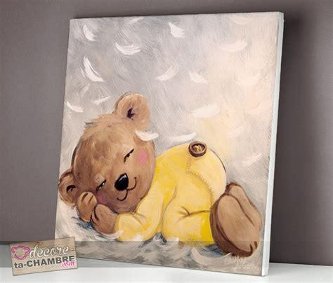 tableau chambre fille tableau ourson endormi sur des plumes vente tableau