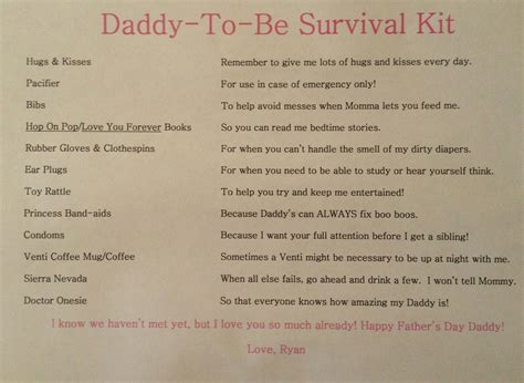 daddy survival kit list included    dad basket
