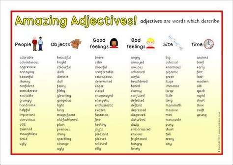 adjectives summary chart google search  images