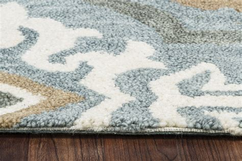 Leone Ornate Quatrefoil Wool Area Rug In Blue Gray Natural