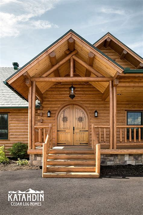log home entry with castle door home