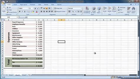 excel    create  income statement guide level