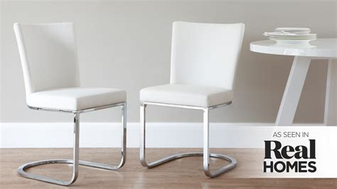 designer faux leather and chrome dining chair uk exclusive