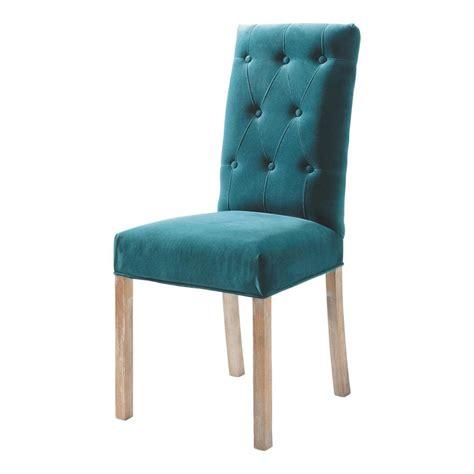 chaise capitonnee chaise capitonnée en velours et bois bleu canard elizabeth