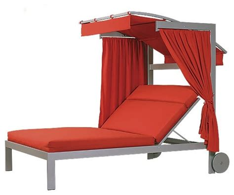 linear chaise lounge with wheels and canopy
